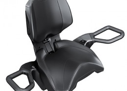 Heated passenger grips & visor outlet